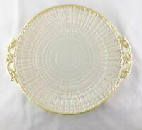 Irish Belleek Cake Plate Handled Limpet Yellow  1955-1965