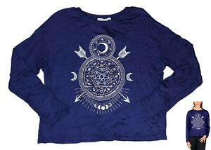 Rebellious One Celestial Graphic Print Long Sleeve Junior's T-Shirt XS NWT Navy