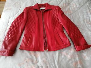 Damen Echtleder Übergangs Jacke weiches Nappa Gr 38 Rot