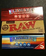 3 Pack Sampler 1 1/4 Size RAW , ELEMENTS Rice ELEMENTS Hemp Rolling Paper