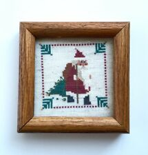Miniature Vtg Christmas Santa Cross Stitch in Wood Glass Frame Primitive 1980s