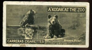Tobacco Card, Carreras, KODAK AT THE ZOO, A Series, 1924, Brown Bear, #46