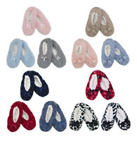 Ladies Cosy Supersoft Novelty Slippers with Grip Red Fur Bow Blue Pink Grey Plus