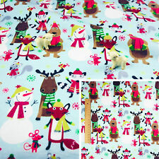 CHRISTMAS BLUE Fat Quarter/Meter/FQ Brushed Cotton Flannel Fabric Reindeer Snow