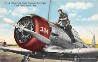 D46/ Craig Field Selma Alabama AL Postcard c40s Cadet Preparing Flight Airplane
