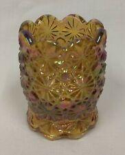 LE Smith DAISY BUTTON Carnival Iridescent Mid Century Art Glass TOOTHPICK HOLDER