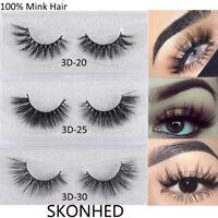 100% Pure Mink Hair False Eyelashes Wispy Cross Long Lashes Extension Makeup New