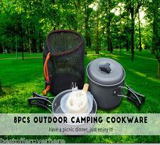 Portbale Backpacking Picnic Camping Cookware 8Pcs/set Bowl Pot Pan Camping tools