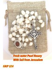 Handmade Natural Fresh Water Pearls Rosary With Jerusalem Soil Mary
