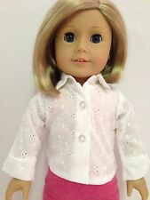 18 inch doll WHITE LONG SLEEVE eyelet shirt blouse top made to fit American Girl