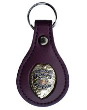 Gold Concealed Weapons Permit Badge PURPLE Leather Key FOB Keychain Keyring