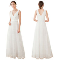 Ever-Pretty Women's Double V-Neck Floral Lace Wedding Party Evening Dress Gowns