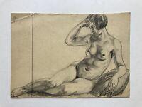 Weiblicher Akt #1 Studie Skizze Zeichnung Bleistift Anonym 14,5 x 20,5 cm