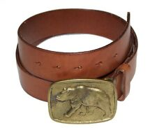 Polo Ralph Lauren Mens Brown Leather Brass Buckle Bear Logo Belt NWT Size 38