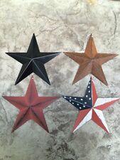 "Set of 4) RUST/BURGUNDY/AMERICAN & Satin BL ACK BARN STARS 8"" PRIMITIVE COUNTRY"