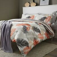 TROPICAL Exotic Leaf Reversible Stripe Duvet Quilt Cover Set Bedding Set Copper