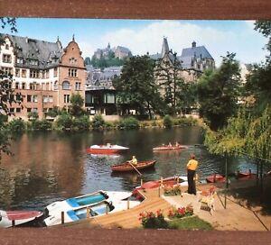 Ansichtskarte Marburg an der Lahn, Lahnpartie mit Schloss und Universität