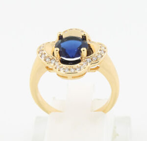 New Pretty Jewellery Natural 2.12ct Sapphire 14k Solid Yellow Gold Ring Size 7.5