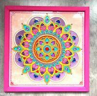 Mandala painting on glass Yoga art Handmade Boho Decor Zen Wall Art Zentangle