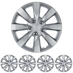 """16"""" Silver Replacement Hubcaps OEM Replica Snap-On Wheel Cover Hub Caps (4 Pack)"""