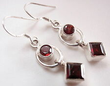 Faceted Red Garnet Earrings 925 Sterling Silver Round Square Dangle Hoop New
