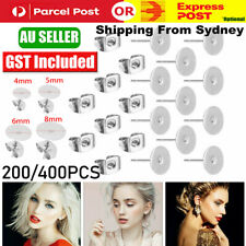 200/400PCS Earring Stud Posts Pads Nut Backs Silvery Surgical Steel DIY Craft