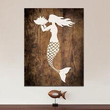 Mermaid Nautical Stencil - Reusable Wall Stencils for DIY Beach House Decor