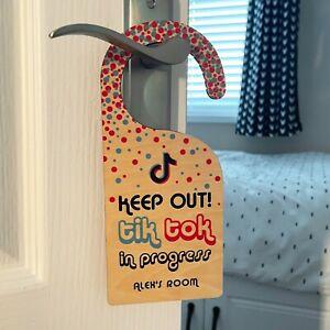 Personalised Kids Door Hanger - Custom Tik Tok Any Name Bedroom Door Sign