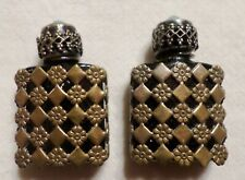 Pair of Ornate Micro Mini Perfume Bottles. Made In France. Fragrances.Turquoise