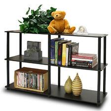 Espresso 2 Tier Display Rack Kid Bed Room Office Storage Organizer Book Shelf