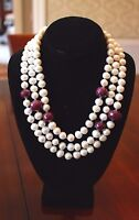 Stunning 15mm GENUINE White Freshwater Pearls & Natural RUBY 3 STRAND Necklace