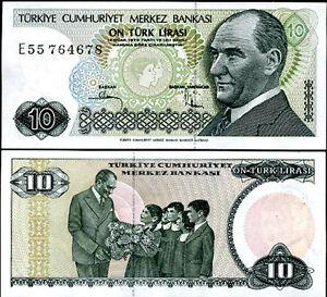 TURKEY 10 LIRA 1970 P 192 UNC LOT 10 PCS