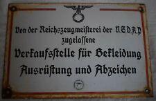 German Militaria enamel sign point of sale Clothing Equipment Badge 30 x 20 cm