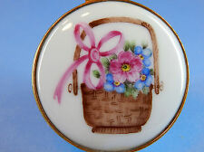 Limoges Hand Painted Hinged Trinket Pill Box for Asprey - Basket of Flowers