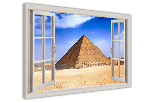 ANCIENT PYRAMIDS OF EGYPT 3D WINDOW BAY VIEW CANVAS ART PICTURES WALL PRINTS