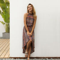 2018 Fashion Hi-Lo Women Vintage Beach Sundress Sexy Halter Neck Boho Maxi Dress