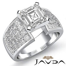 Asscher Diamante Invisible Set Pesado Anillo de Compromiso GIA G VS2 Platino