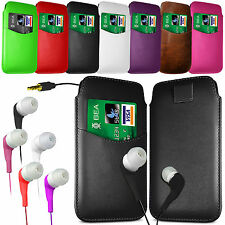 CARD SLOT PU LEATHER PULL FLIP TAB CASE COVER & EARPHONES FOR SAMSUNG PHONES