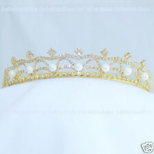 Ivory Pearl Crystal Tiara Bridal Wedding Bridesmaid Gift Prom Crown Gold Gp New