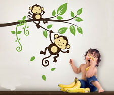 Cute Monkey Branch Vine Fit Baby Room Vinyl Wall Paper Decal Art Sticker T106