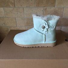 UGG Mini Bailey Button Poppy Aqua Suede Classic Boots Size US 7 Womens NIB