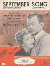 Partituras de c1950s-septiembre canción de la película asunto, Joan Fontaine de septiembre