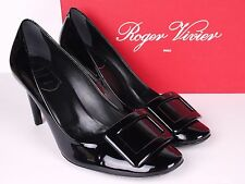 NIB Women's ROGER VIVIER Black Belle De Nuit Buckle Patent Shoes - Size 37.5
