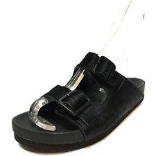 New Steve Madden Boundree Black Calf Fur Comfort Sandal Slides Women's Size 6 M*