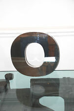 Large reclaimed 3D metal shop letter O - polished mirror finish - 30cm tall