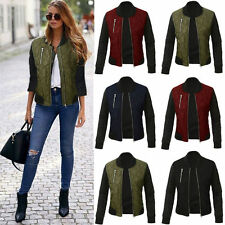 UK Fashion Womens Bomber Jacket Classic Style Zip Up Biker Vintage Ladies Jacket