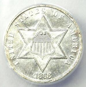 1868 Three Cent Silver Coin 3CS - Certified ANACS AU50 Details - Rare Date Coin!