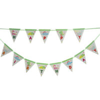 1set Dinosaur theme party Happy Birthday Paper Banner Bunting Pennant Flags RG