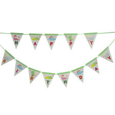 1set Dinosaur theme party Happy Birthday Paper Banner Bunting Pennant Flags UK