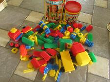 Vintage Lot Playskool Bristle Blocks + Wood Letter Blocks + Cannisters